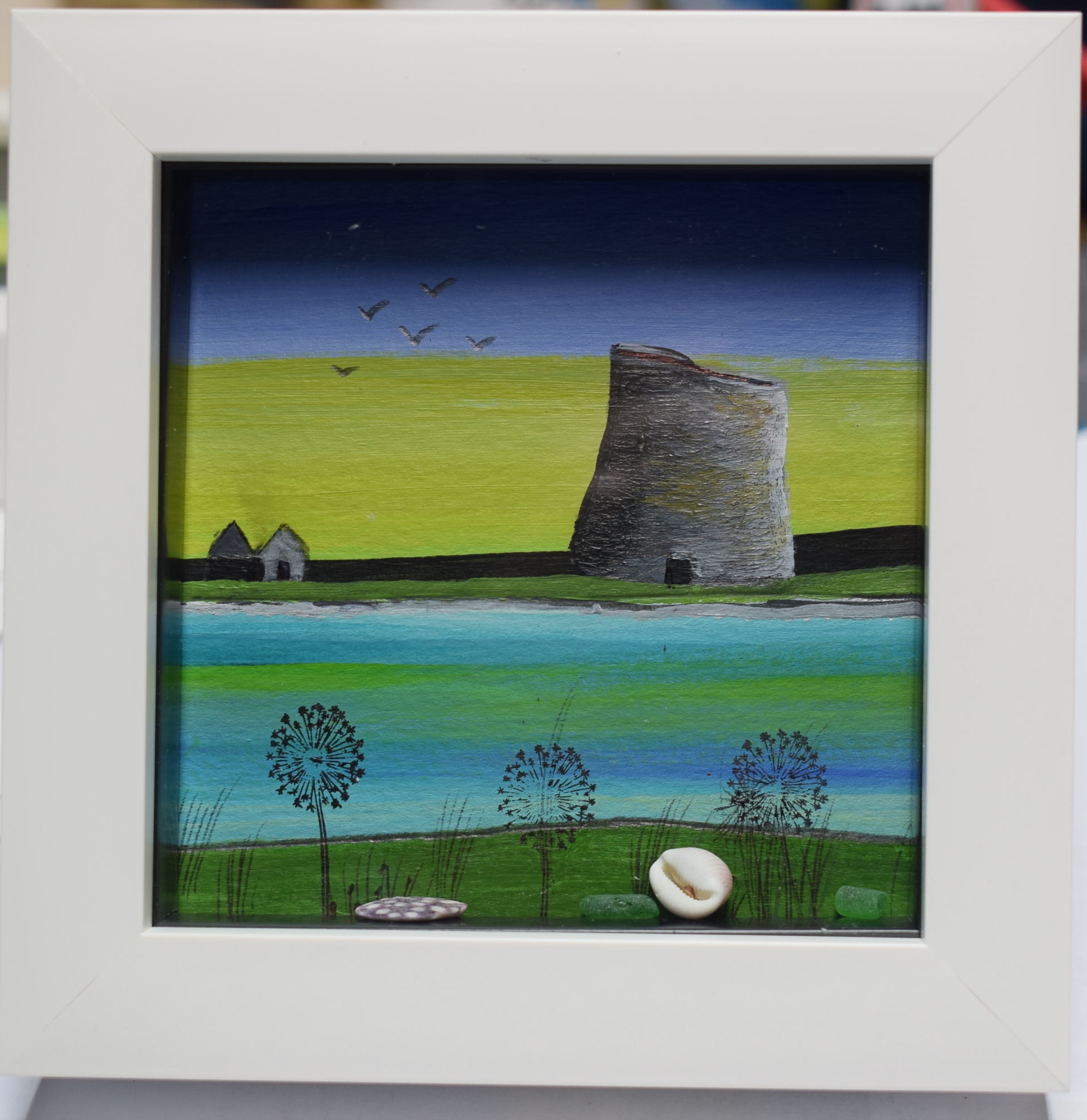 Original acrylic painting by Shetland artist Sarah Kay. The broch of ...