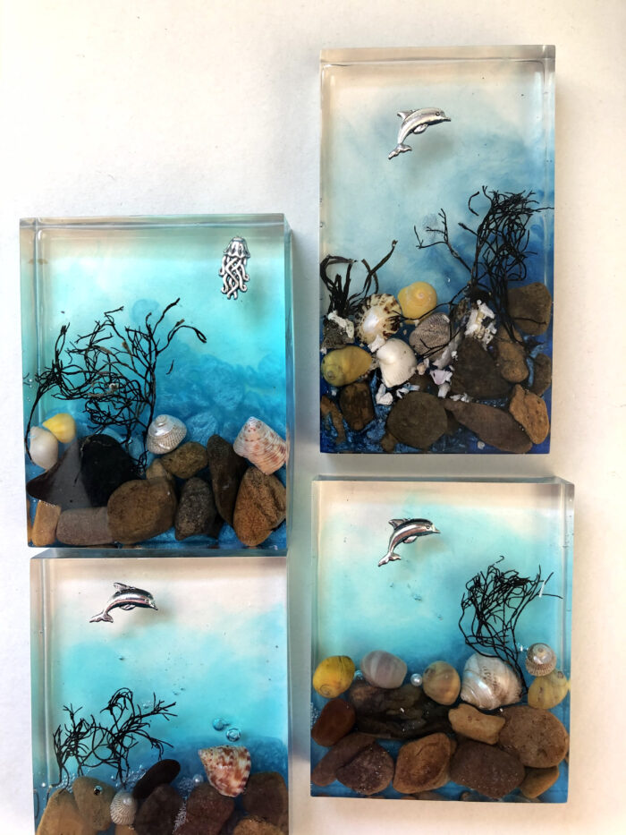 Beach finds preserved in resin